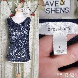 DRESS BARN MIDNIGHT BLUE SEQUINED TANK TOP
